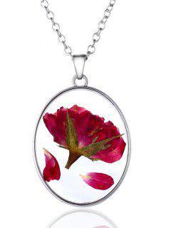 Dry Petal Floral Glass Pendant Necklace - Silver