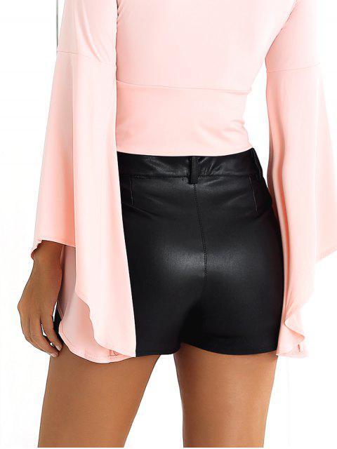 Shorts Floral brodé PU - Noir S Mobile