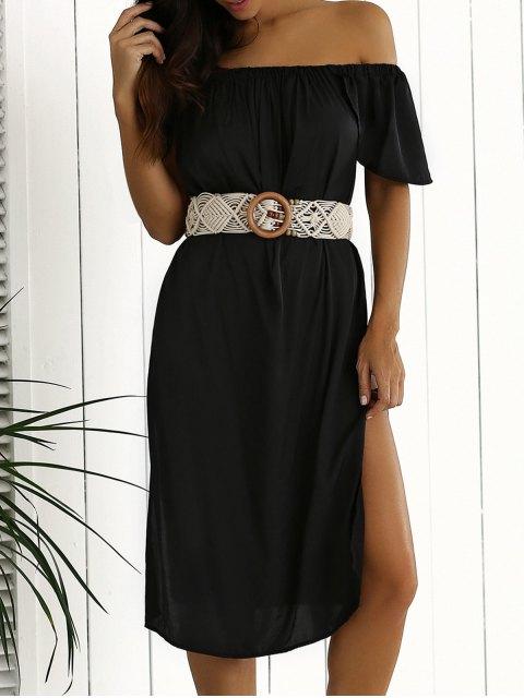 outfits Side Slit Off Shoulder Shift Dress - BLACK L Mobile