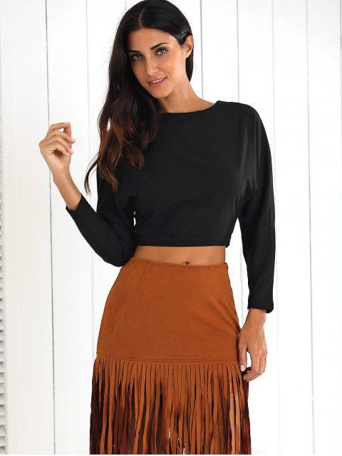 latest Back Cutout Batwing Sleeve Cropped Tee - BLACK 2XL Mobile