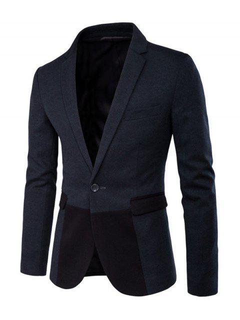 Couleur Spliced poches à rabat à manches longues Slit Blazer - vert foncé 2XL Mobile