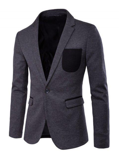 Contraste de bolsillo de hendidura Volver solapa de manga larga chaqueta - Gris XL Mobile