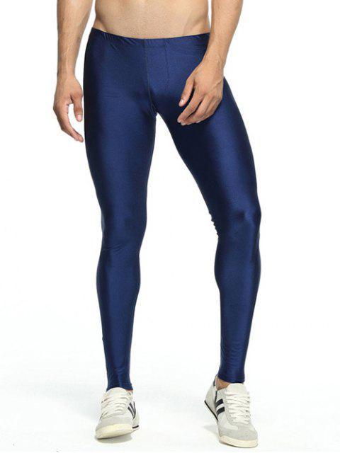Solide dünne elastische Taillen-Gym Pants - Dunkel Blau L Mobile