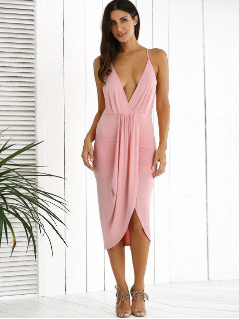 online Low Cut Draped Party Wear Tulip Dress - PINK M Mobile