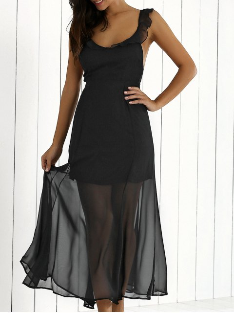 women's Flouncing Backless See-Through Maxi Dress - BLACK S Mobile