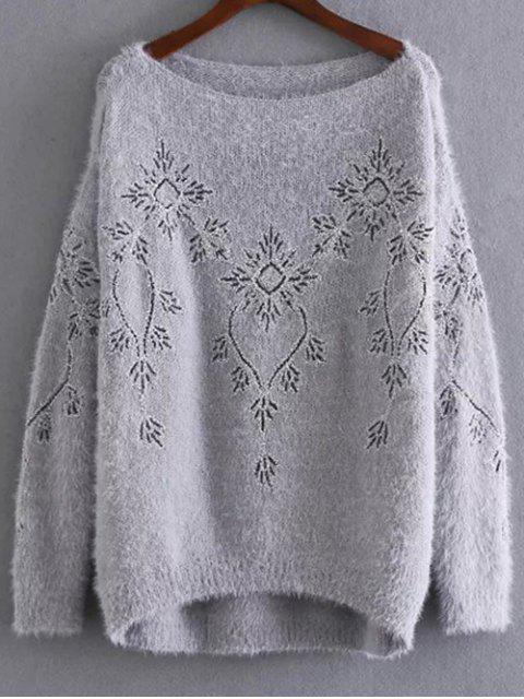 Pailletten bestickter Mohair Pullover - Grau Eine Größe Mobile