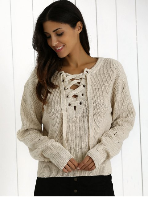 latest Ribbed Lace Up Cropped Jumper - OFF-WHITE ONE SIZE Mobile