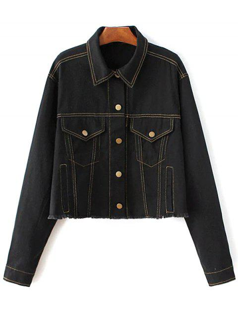 fancy Buttons Frayed Denim Jacket - BLACK L Mobile