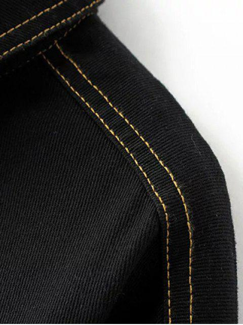sale Buttons Frayed Denim Jacket - BLACK S Mobile