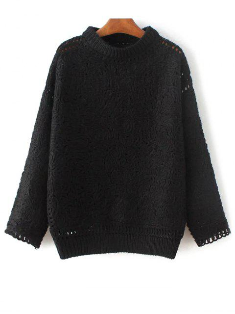 trendy High Neck Crochet Sweater - BLACK ONE SIZE Mobile