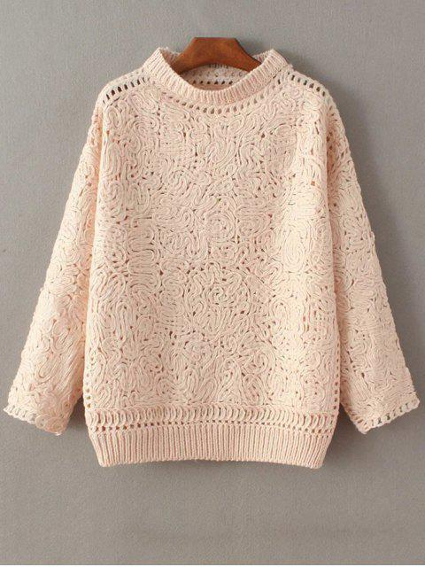 fashion High Neck Crochet Sweater - PINK ONE SIZE Mobile
