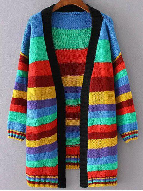 unique Striped Long Open Cardigan - COLORMIX S Mobile