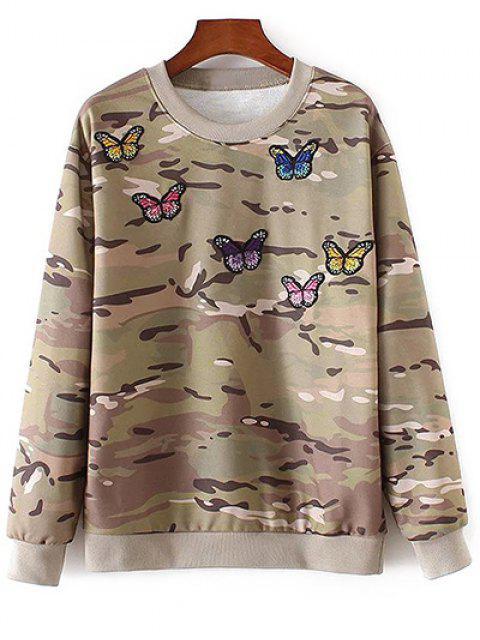 Camo camiseta bordada de la mariposa - Colores Mezclados M Mobile
