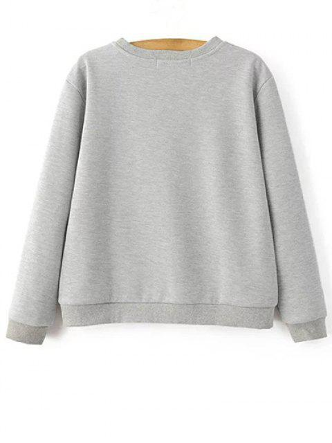 womens Parrot Embroidered Sweatshirt - LIGHT GRAY S Mobile