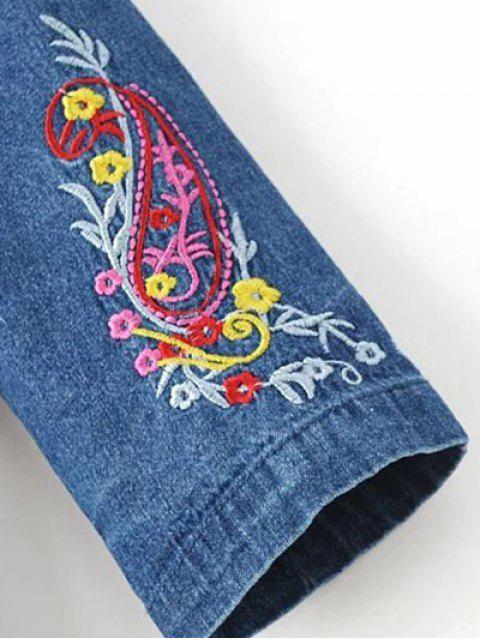 affordable Embroidered Denim Long Sleeve Dress - DENIM BLUE M Mobile