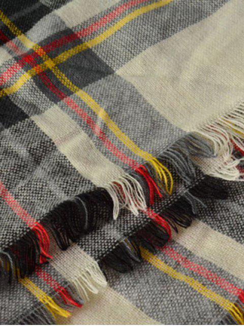 trendy Plaid Pattern Fringed Square Scarf -   Mobile
