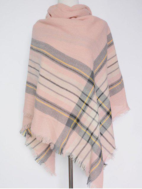 chic Plaid Pattern Fringed Square Scarf -   Mobile