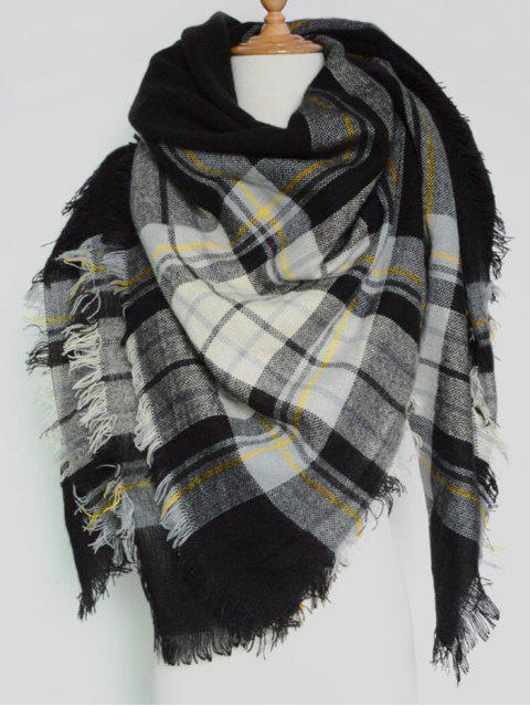 affordable Plaid Pattern Fringed Square Scarf -   Mobile