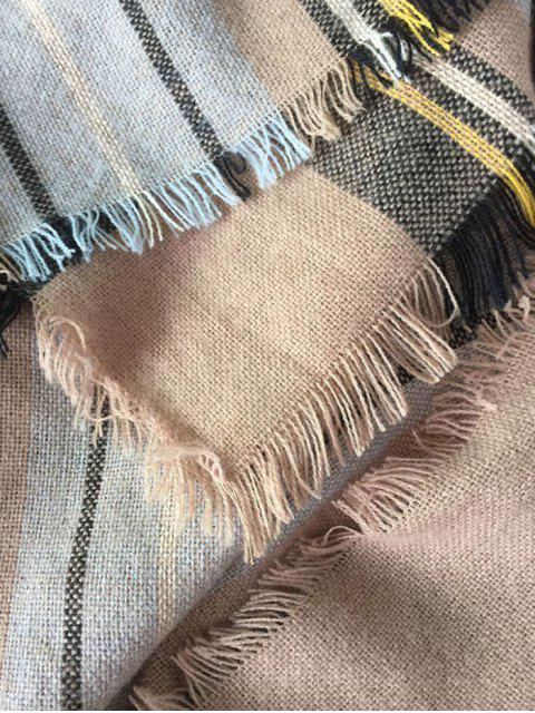 buy Plaid Pattern Fringed Square Scarf - PINKBEIGE  Mobile
