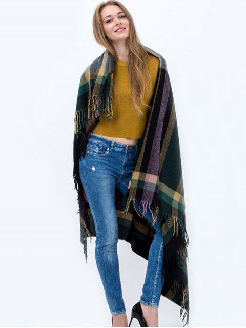 De la tela escocesa de la borla de la bufanda de la plaza - Verde negruzco  Mobile