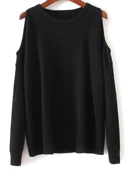 affordable Cold Shoulder Sweater - BLACK ONE SIZE Mobile