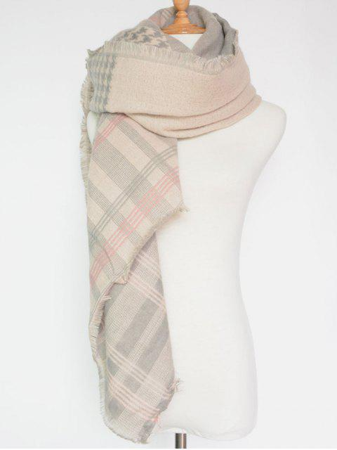 lady Plaid Houndstooth Pattern Fringed Square Scarf -   Mobile
