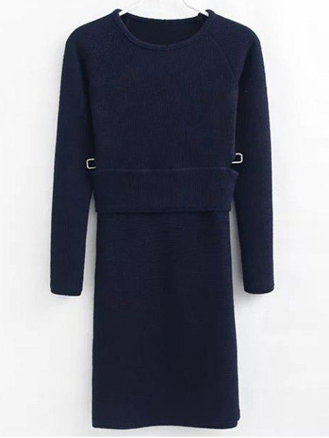 fancy Pullover Sweater and Knit Skirt - CADETBLUE M Mobile