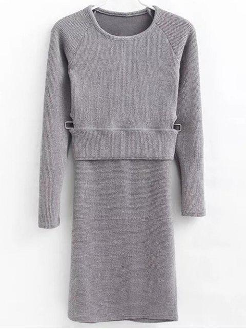 women Pullover Sweater and Knit Skirt - GRAY M Mobile