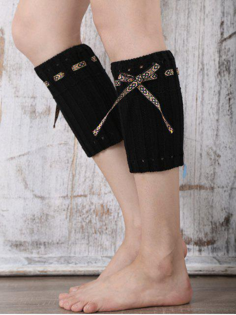 women's Lace-Up Reeved Boot Cuffs - BLACK  Mobile