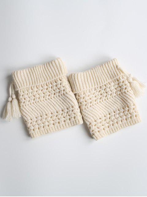 Tassel Flanging tricoté Boot Cuffs - Blanc  Mobile
