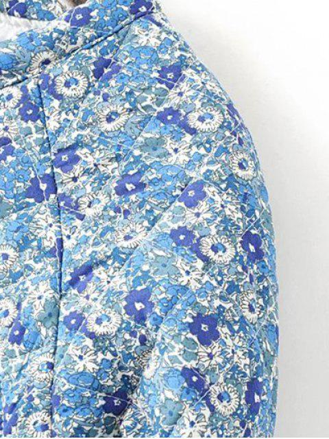 trendy Small Floral Quilted Jacket - BLUE M Mobile