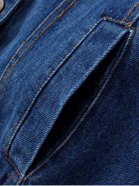women's Embroidered Denim Jacket and Skirt - DENIM BLUE M Mobile