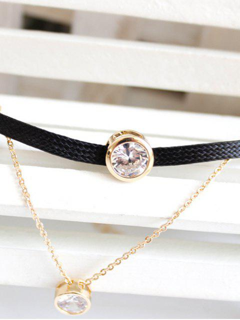 unique Faux Zircon Leather Choker - BLACK  Mobile
