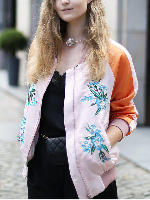 chic Floral Embroidery Baseball Jacket - PINK L Mobile