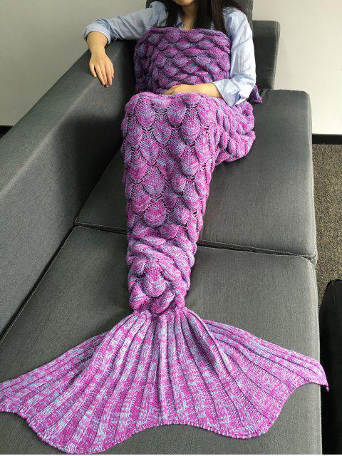 Couverture en forme de queue de sirène à motif d'écailles de poisson en tricot - Violet Clair M Mobile