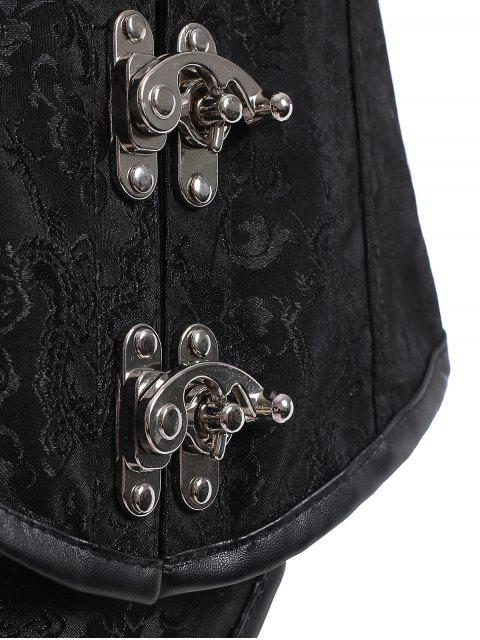 latest Lace Up Alloy Buckle Corset With T-Back - BLACK 5XL Mobile