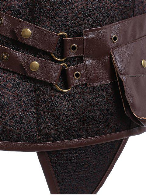 affordable Faux Leather Steampunk Corset With T-Back - COFFEE XL Mobile