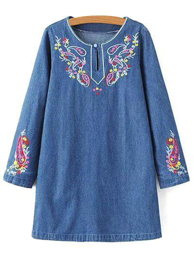 2ea28062a2 Embroidered Denim Long Sleeve Dress - Denim Blue M