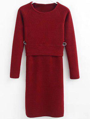 Vestido De Suéter De Tejido  - Vino Rojo S