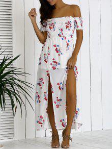Floral Hombro Vestido Largo - Blanco Xl