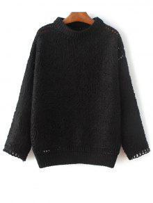 Buy High Neck Crochet Sweater - BLACK ONE SIZE