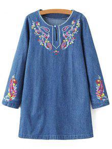 Embroidered Denim Long Sleeve Dress - Denim Blue M