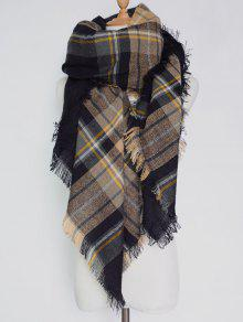 Plaid Pattern Fringed Square Scarf - Black