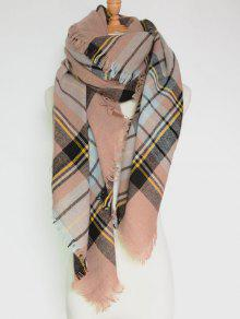 Plaid Pattern Fringed Square Scarf - Pinkbeige