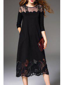 فستان شير دانتيل ميدي - أسود M
