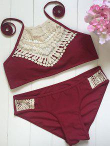High Neck Lace Spliced Bikini Set - Wine Red L