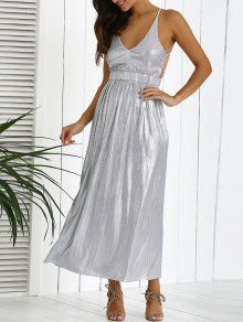 Backless Silver Evening Dress - Silver S