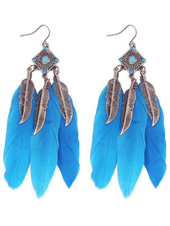 Pendientes de gota de la pluma de la hoja de la aleación geométrica - Azul