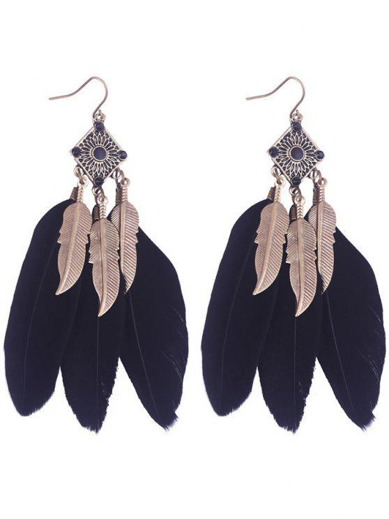 lady Geometric Alloy Leaf Feather Drop Earrings - BLACK