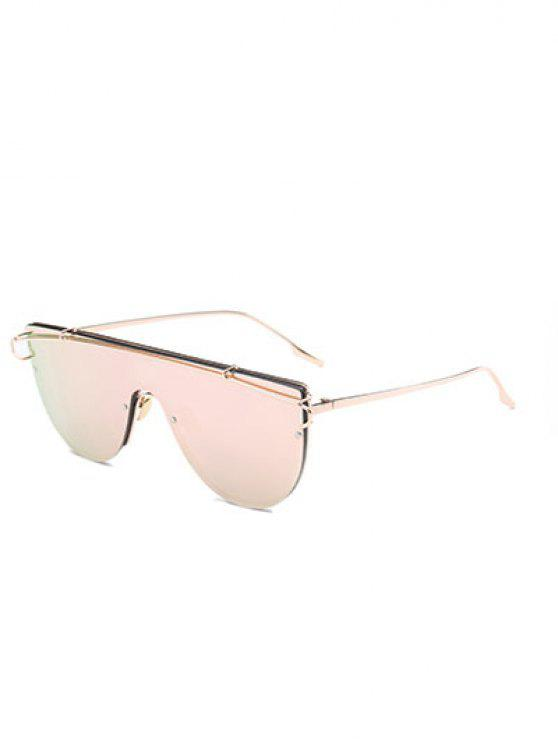 best Cross-Bar Mirrored Sheild Sunglasses - PINK